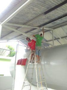 Tukang cat duko, pengecatan di cileungsi Pusat Satelit Palapa Telkomsel